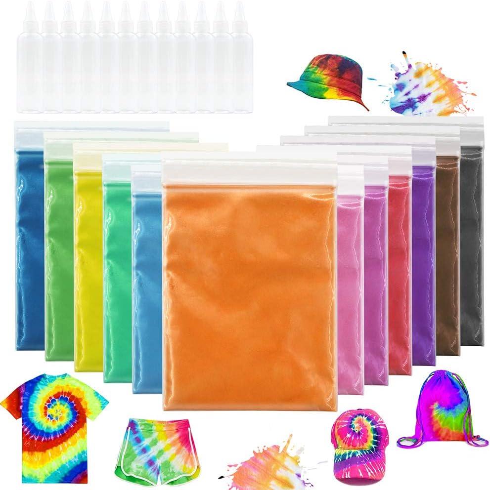 12 colores de un solo paso Tie Dye Kit para niños y adultos, Tie Dye Powder para textiles Craft Arts Camisa Tela Zapatos de lona Tshirt Ropa Pintura DIY Suministros de fiesta