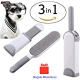 Pet Hair Remover, Fur and Lint Remover with Reusable Self-Cleaning Double Sided Brush Excellent for Dog and Cat, Efficient Pet Hair Remover for Furniture, Clothes, Carpet & Car Seats (Gray)