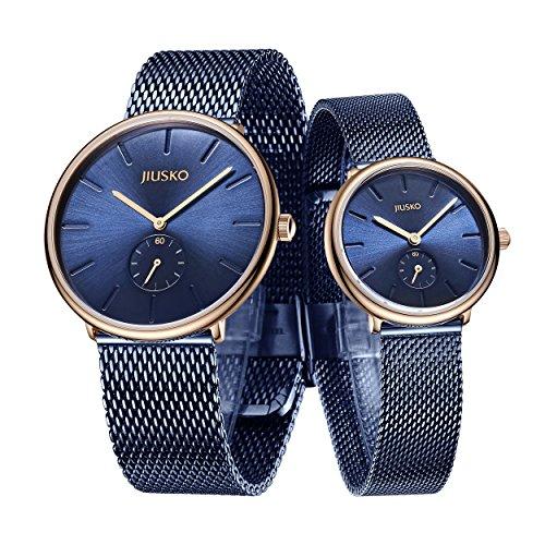 Jiusko Sapphire - Men Women Quartz Watches - Steel Mesh (His & Hers, Blue - Rosetone) by JIUSKO