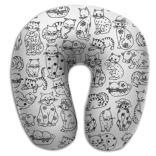 BLACK WHITE Doodle Cats Kitten Soft Microfiber Neck-support Travel Neck - Raybans Instagram