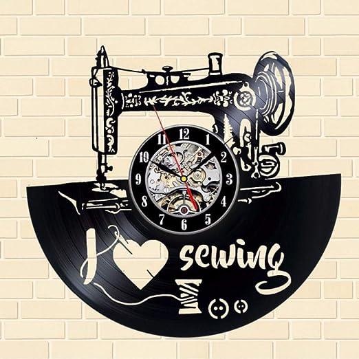 LLLYZZ CD Vinilo Diseño Máquina De Coser Forma Reloj De Pared ...