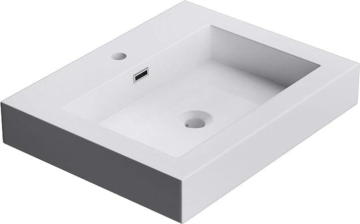 Mai /& Mai lave main /évier vasque 100x48x10cm en r/ésine de synth/èse blanc rectangulaire avec per/çage pour robinet lavabo avec trop-plein /à poser///à suspendre Col818