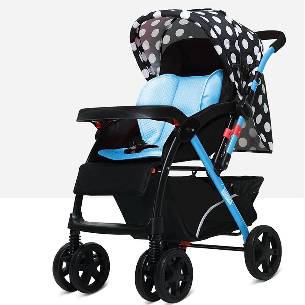 JIANXIN 赤ちゃんのベビーカー高所風景が座ったり、折りたたみ可能なショックアブソーバに座ったり、二方向四輪車の赤ちゃん夏と冬のデュアルユースカート (色 : 青)   B07F7P76PR