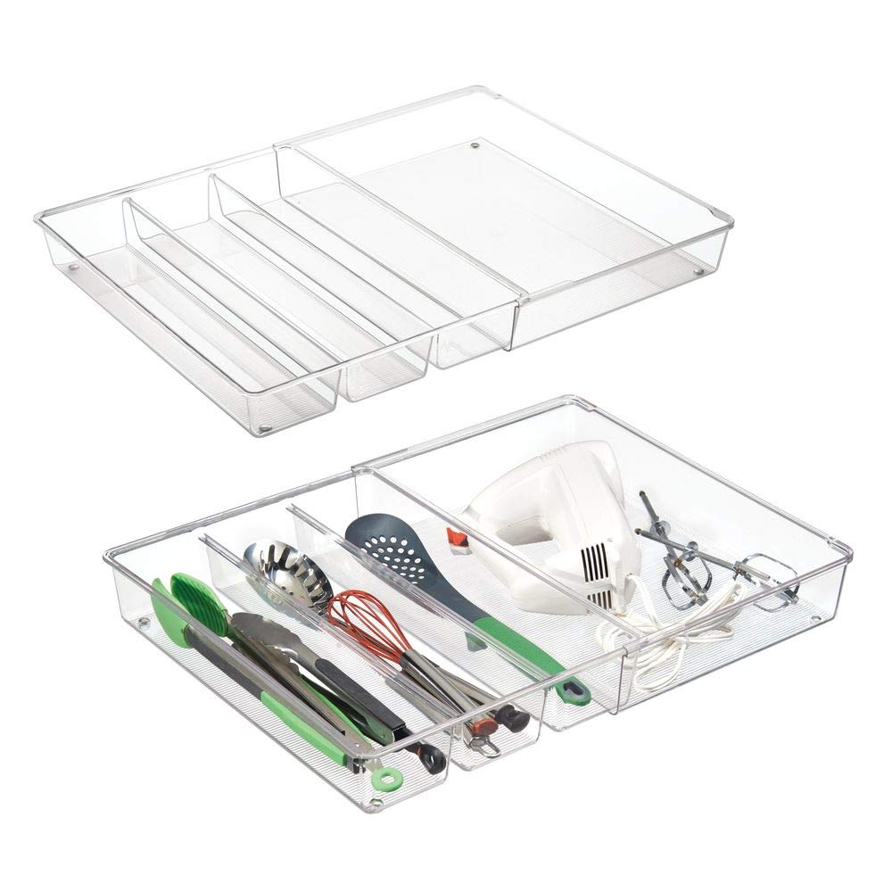 mDesign Adjustable, Expandable 4 Compartment Kitchen Cabinet Drawer Organizer - Divided Sections for Cutlery, Serving Spoons, Cooking Utensils, Gadgets - BPA Free, Food Safe, 3'' Deep - 2 Pack - Clear by mDesign