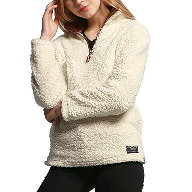 80c211145cfb Sun Lorence Women s Zipper Collar Sherpa Fleece Pullover Sweatshirt Wool  Sweater Beige XXS