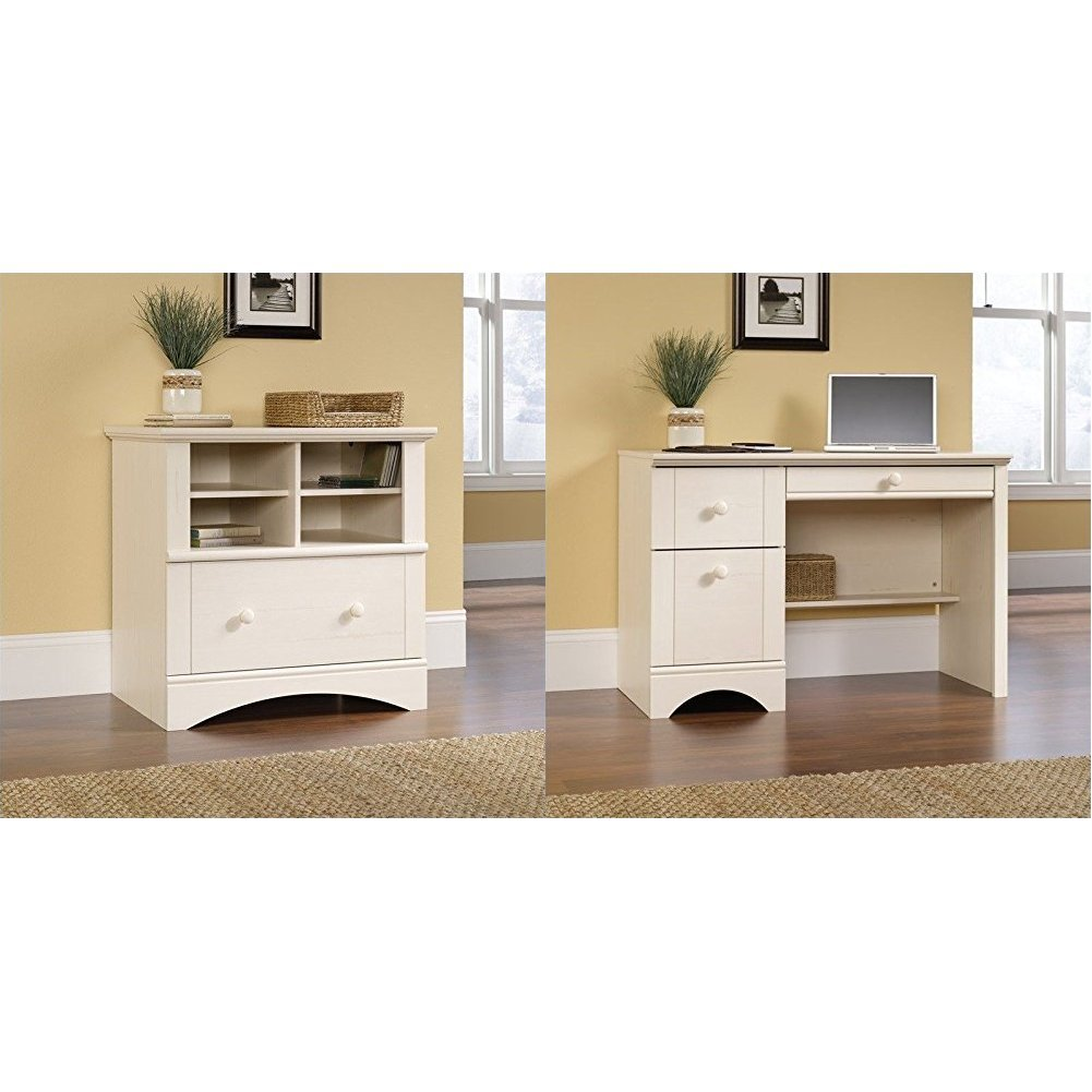 Sauder Harbor View Lateral File, Antiqued White + Sauder Harbor View Computer Desk, Antiqued White Finish_Bundle