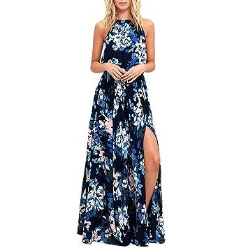 e48bc6191f07 BBring Damen Kleid, Sommerkleider Chiffon Blumen Kleider Elegante Lace-up  Split Lang Maxikleid Ärmellose