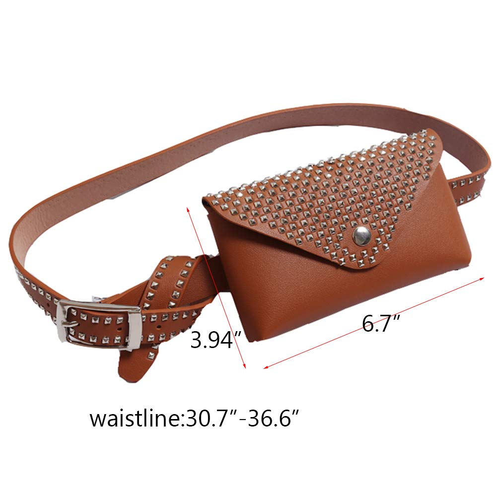 Small Leather Wasit Fanny Belt Packs Bag With Rivets For Women Girls Cute Fashion