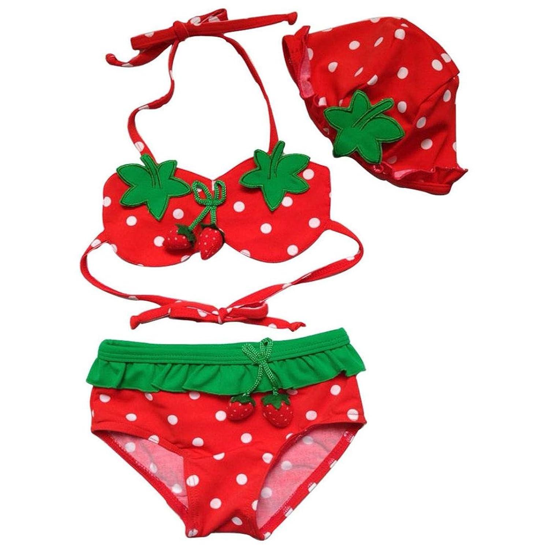 Été Mignon Petite Fille Maillots de bain , Reaso Fraise Maillots Deux Pièces Bikini & Bonnet de Bain pour 2-6 ans Enfant
