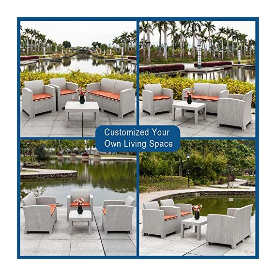 Bonnlo 4 Piece Patio Furniture Set, Rattan Table Chair Set, Conversation Set with Removable Cushion Outdoor Indoor Use Sectional Yard Furniture Set, Simple Assembly Tools Free - Excellent Quality: This 4 piece bistro table set is made of all weather PP rattan wicker, without steel frame, so you don't need to worry about rust, and difficult to crack, split, rot, chip, fade or deteriorate. Beside, the cushion cover is made of 240G fiber cloth, thicker and more durable for use. Upgraded Comfort: Ergonomically engineered for ultimate comfort, the ergonomic armrests and seat backs, and with 2.4 inch thickness cushion to ensure you will enjoy your seating all day long! These lofty sponge padded cushions won't collapse after use. Super-Easy Assembly & Easy Cleaning: No tools needed to assemble, but we recommend at least two people to complete the assembly. The great advantages of backyard furniture sets is its hardiness and durability as well as its ease of maintenance. It is easy to remove the dirt. Non-metal frame is low maintenance and rust-proof. Just wipe it clean! - patio-furniture, patio, conversation-sets - 61F3jp2 0SL. SS570  -