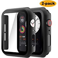 Hianjoo 2 Piezas Funda con Protector de Pantalla Templado Compatible con Apple Watch 44 mm, Negra PC Cubierta, Estuche Rígido Compatible con iWatch Series 5 4, Protección Completa, Antiarañazos