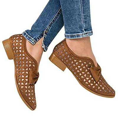 Sandals for Women Platform, Pointed Toe Breathable Wedges Loafers Bowknot Hollow Out Walking Shoes Beach Casual Sandals at Women's Clothing store