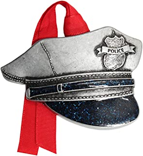 product image for 2020 First Responders Pewter Christmas Tree Ornaments. Various Styles for Police, Firefighters and EMT's (Police Hat)