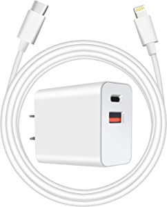 [Apple MFi Certified] iPhone Fast Charger,Belcompany 20W Dual Port Wall Charger Plug with 6.6ft Lightning Cable,PD/QC3.0 Fast Power Adapter for iPhone 12,12 Mini,12 Pro,12 Pro Max,iPad Pro and More