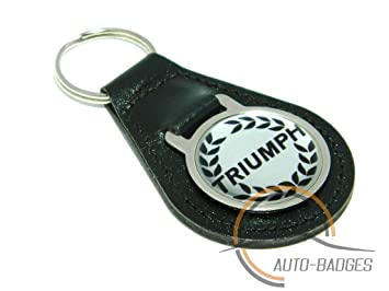 auto-badges Triumph Llavero Calidad Negro Llavero de Cuero ...