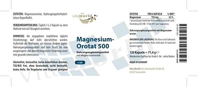 Orotato de Magnesio 195mg 120 Cápsulas Vegatales - Vita World Farmacia Alemania: Amazon.es: Salud y cuidado personal