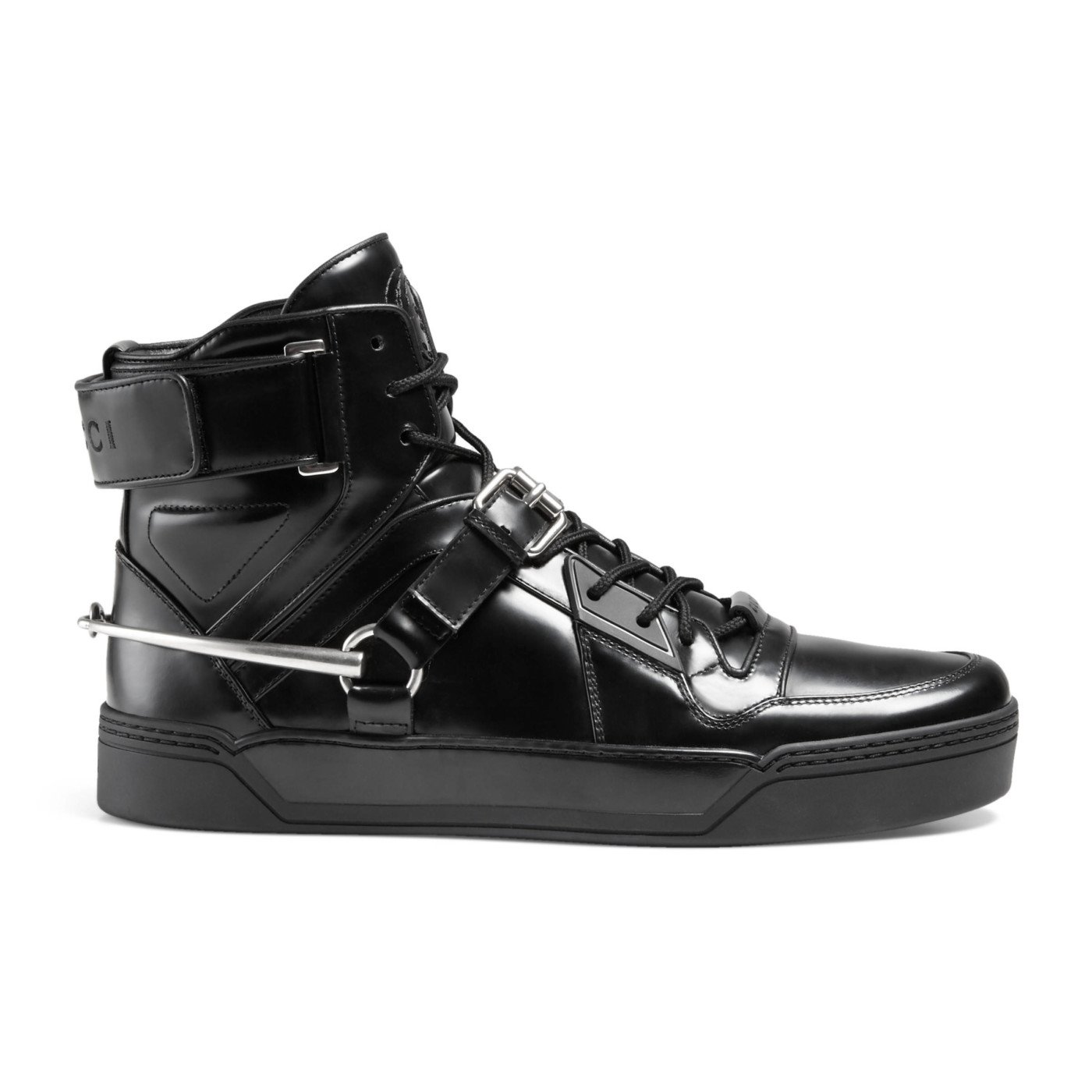 3a78318efec Top1  Gucci Men s Black Shiny Leather GG Horsebit High Top Sneakers Shoes