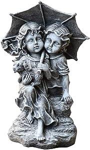 JJAIR Little Girl & Boy Raise Umbrella Garden Resin Ornament Set