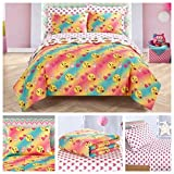 Emoji Comforter Set Twin Emoji Girls Complete 5 Piece Reversible Bedding Comforter Set - Twin/Twin XL