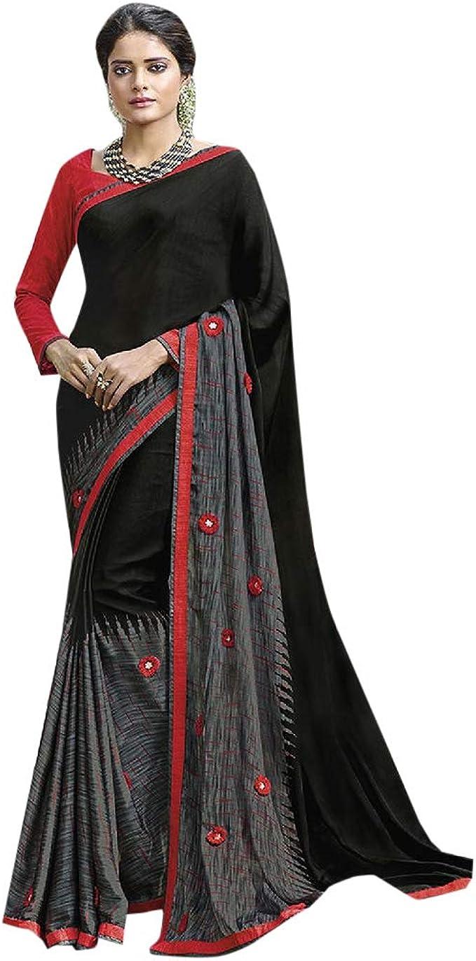 Traditional Ethnic Black Saree Georgette Saree Bridal Party Wear Women Sari
