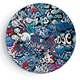 8'' Print Ceramic Plate Modern Decor with Plate Stand Teenager Style Image Wall Street Graffiti Graphic Colorful Design Artwork