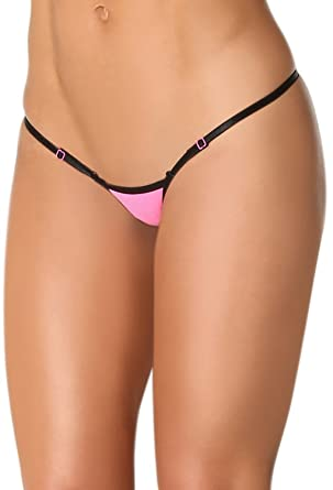 340dfed17c0 Women's Micro Thong String Breakaway Adjustable Low Waist Black 7024:  Amazon.co.uk: Clothing