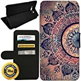 Flip Wallet Case for Galaxy S8 (Mandala Datura Hippie) with Adjustable Stand and 3 Card Holders | Shock Protection | Lightweight | by Innosub