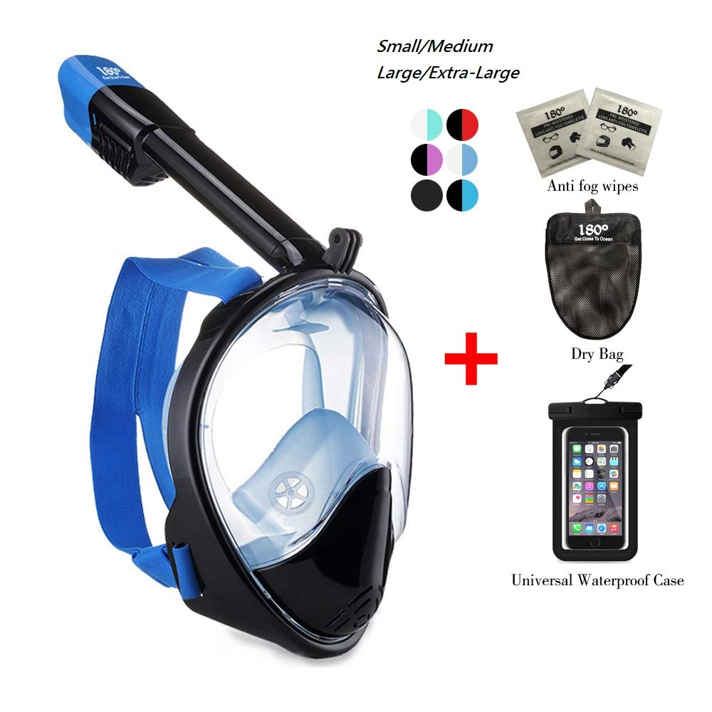 180° Snorkel Mask View for Adults and Youth. Full Face Free Breathing Design.[Free Bonuses] Cell Phone Universal Waterproof Case (Dry Bag) and Anti-Fog Wipes (Black/Blue, L/XL) by 180°