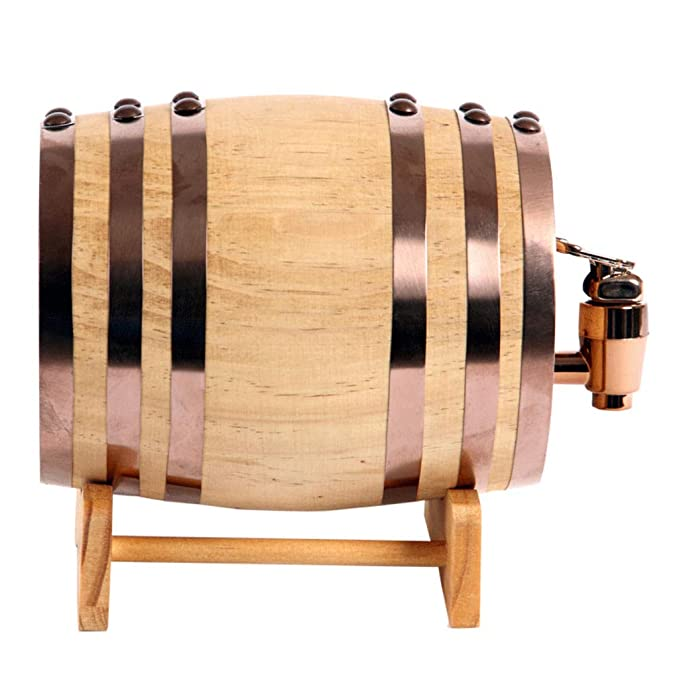 Woode Barril de Vino Madera Dispensador de Roble 1.5 litros Forro de Papel de Aluminio Incorporado para Guardar su Propio Whisky, Cerveza, Vino, borbón, ...