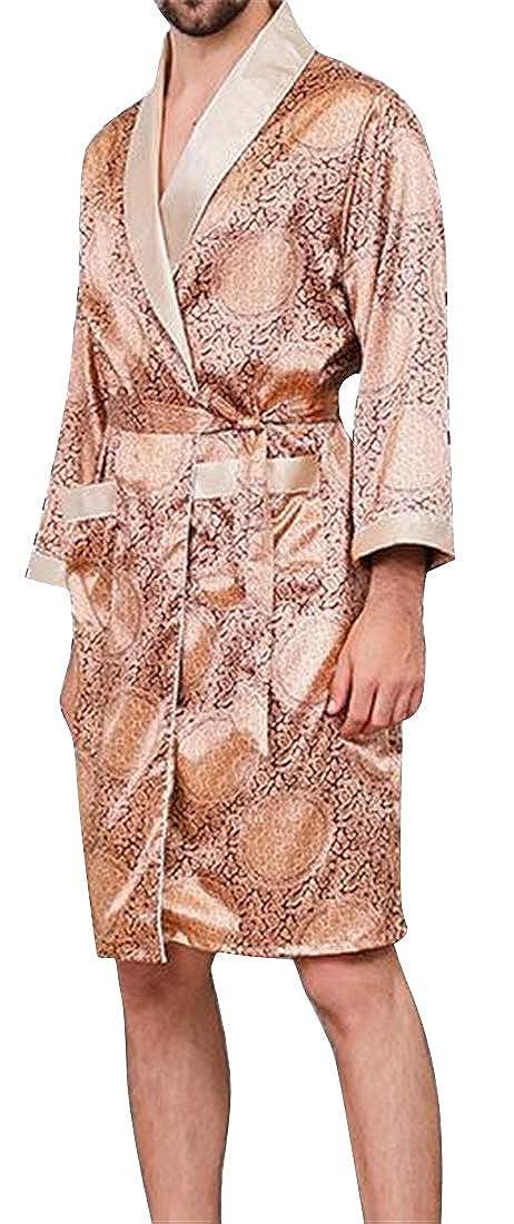 BOBOYU Men Plus Size Print Lightweight Faux Silk Long Sleeve Bathrobe Homewear Sleepwear
