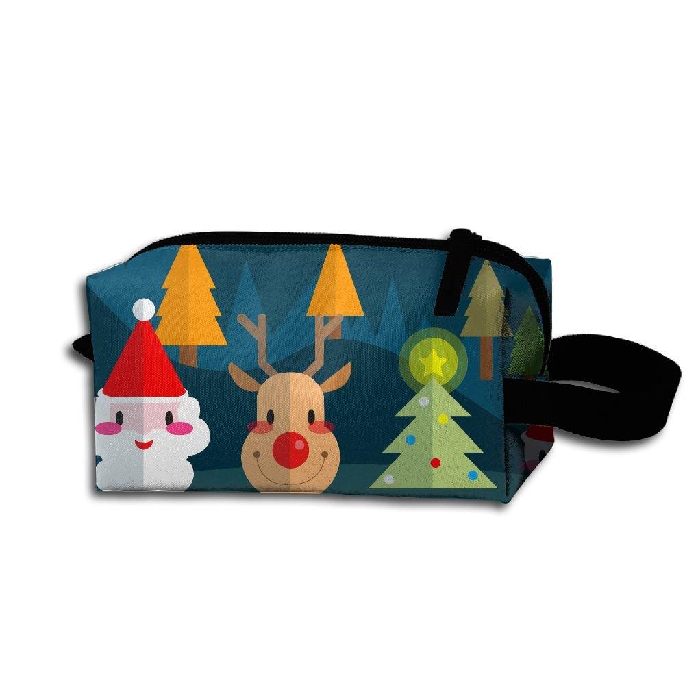メイクアップコスメティックバッグサンタクロースツリー雪だるまDeer Medicine Bag Zip旅行ポータブルストレージポーチforメンズレディース B07DWM2QPC