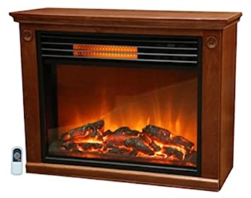 Amazon.com: Lifesmart  Large Room Infrared Quartz Fireplace in Burnished Oak Finish w/Remote: Home & Kitchen