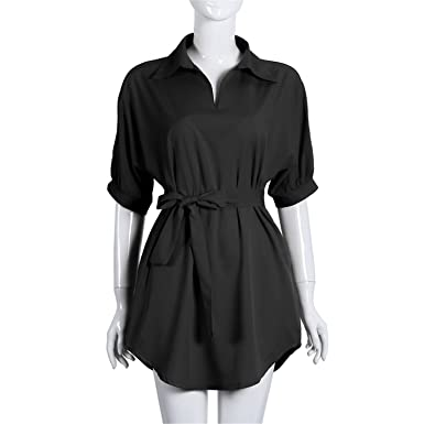 769196e2ad1 Image Unavailable. Image not available for. Color  Baqijian Shirt Dress  Women Summer Short Sleeve Chiffon Casual Dresses Ladies Plus Size ...