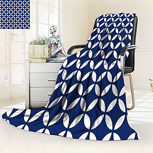 (YOYI-HOME Throw Duplex Printed Blanket with Overlapping Rounds Oval Figures Old Fashion Graphic Art Royal Blue White Velvet Plush Throw Blanket /W59 x H39.5)