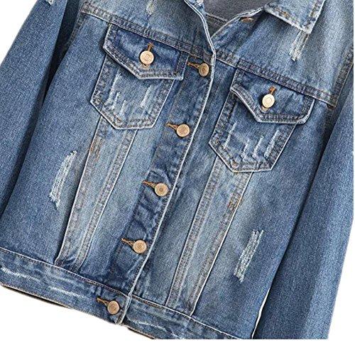 SHISHANG Las mujeres del dril de algodón del resorte de la camisa y la chaqueta de mezclilla otoño deshilachado Europa y los Estados Unidos y Europa dril de algodón de los pantalones vaqueros azules denim blue