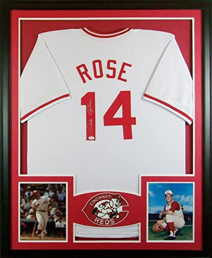 2b9cc7622 Pete Rose Cincinnati Reds Signed Autograph Custom Framed Jersey JSA  WItnessed Certified at Amazon s Sports Collectibles Store