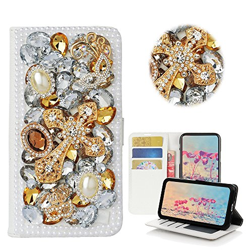 STENES Samsung Galaxy J7 V Case, Samsung Galaxy J7 Perx Case - STYLISH - 3D Handmade Bling Crystal Mask Cross Desgin Wallet Credit Card Slots Fold Media Stand Leather Cover Case - (Cross Leather Fold)