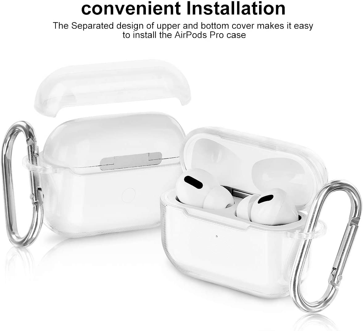 AIRSPO Airpods Pro Case Clear Airpods Pro Case Cover Soft TPU Airpod Pro Protective Skin 2019 with Keychain Compatible Apple AirPods Pro Charging Case Clear+Clear Purple