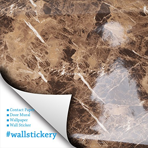 Wallstickery marble contact paper for counter top faux brown yellow gray granite wallpaper gloss self adhesive sticky stone look wall stickers removable peel stick decorative cabinets (Brown + Gray)