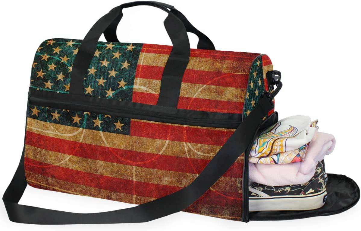 TFONE American Flag Basketball Court Duffel Bag Sports Gym Weekend Bags with Shoe Compartmen