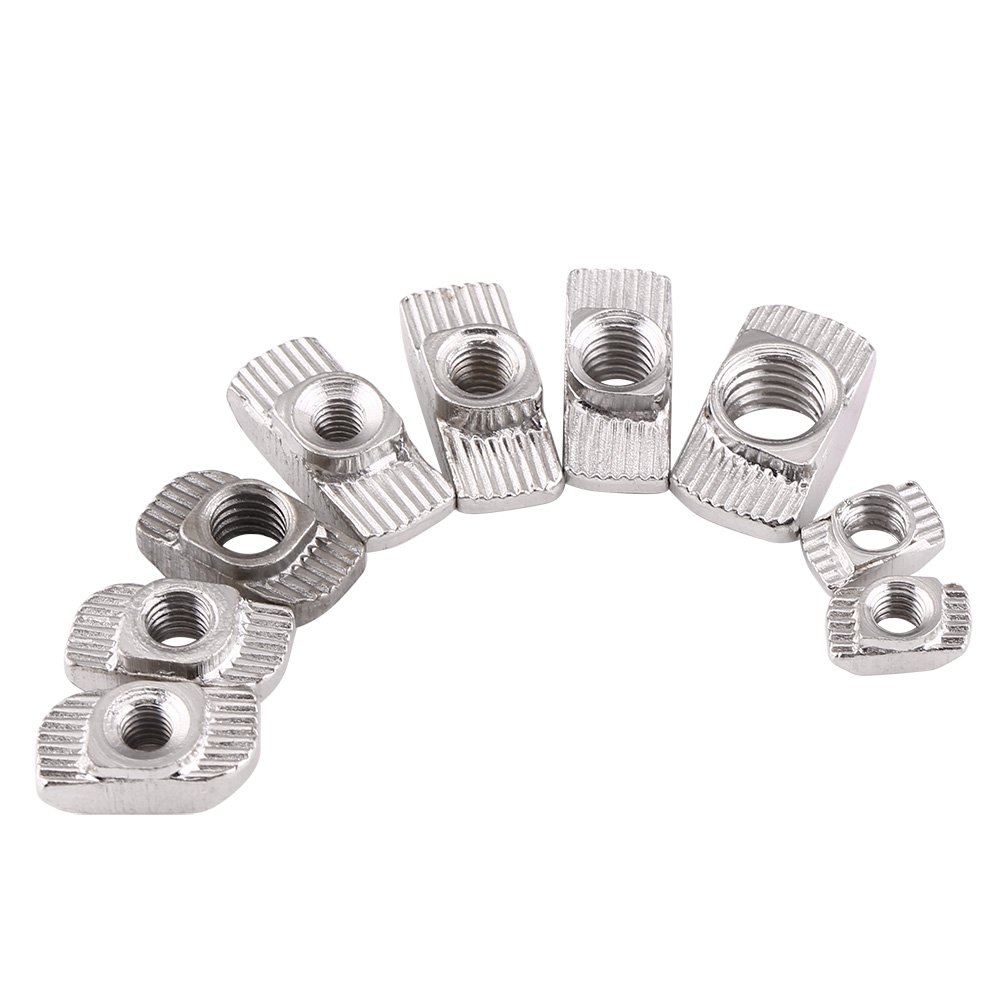 50Pcs T-slot Nuts Hardware M4 M5 M6 M8, 9 Size Zinc Plated Carbon Steel Fastener For Aluminum Profile(EU30-M6*16.5*8)