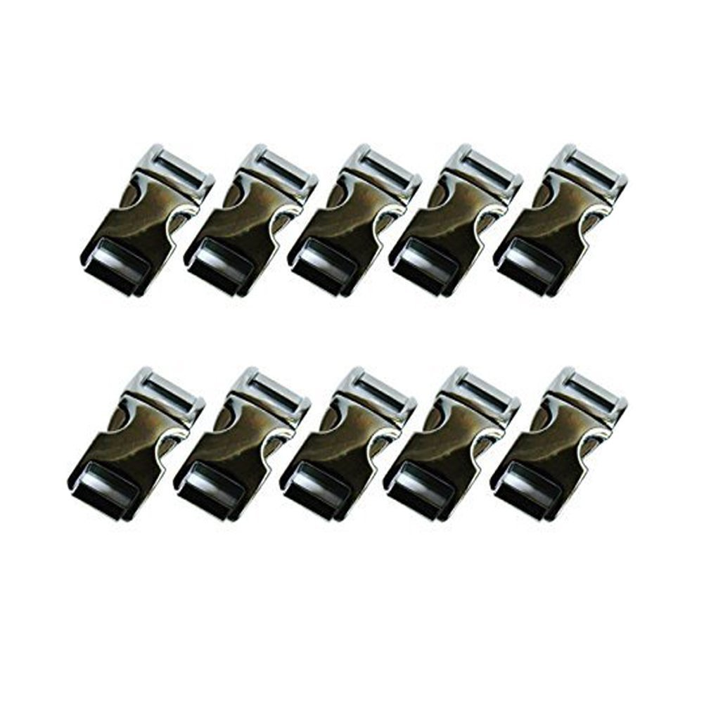 "Elife 10 PCS 5/8""(15mm) Flat Metal Side Release Buckles - Gun Metal Black Marketty-63"