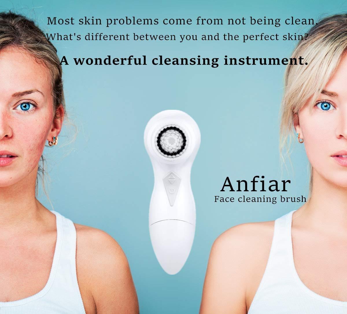 Mieres - Cepillo de limpieza facial ultrasónico con 2 ajustes de velocidad, impermeable, eléctrico, limpiador facial y exfoliador