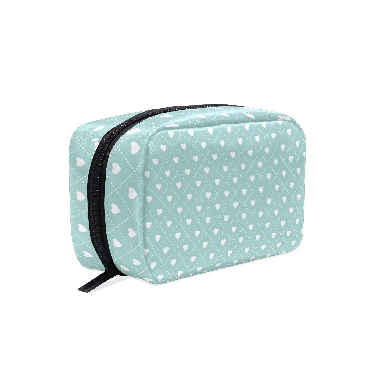 Love Point Blue Green Cosmetic Bag Black Zipper Storage Bag Portable Ladies Travel Square Makeup Brushes Bag