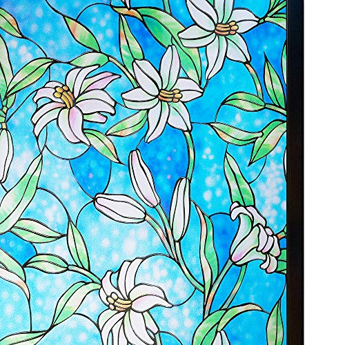 Rabbitgoo Window Film Decorative Privacy Film Stained Glass Window Film Anti UV Window Frosting Film No Glue Static Cling Window Glass Tint for for Home Kitchen Bathroom, Lily Pattern 35.4