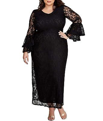 a9a036578c9 Lalagen Women Plus Size Floral Lace Wedding Party Dress Formal Evening Gown  Black XL