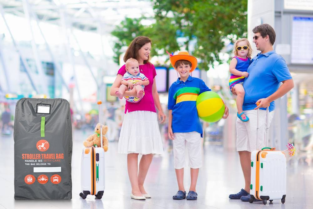 Beschan Durable 84 * 45 * 45 cm Child Car Seat Travel Bag Airplane Gate Check Skid-Proof Padded Shoulder Strap Foldable for Airport Car Trips