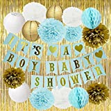 Boy Baby Shower Decorations Blue Baby Shower It's A BOY Banner Tissue Paper Pom Poms Paper Flowers Paper Lanterns Gold Foil Curtain Blue/White/Gold Baby Shower Party Decorations for Boy