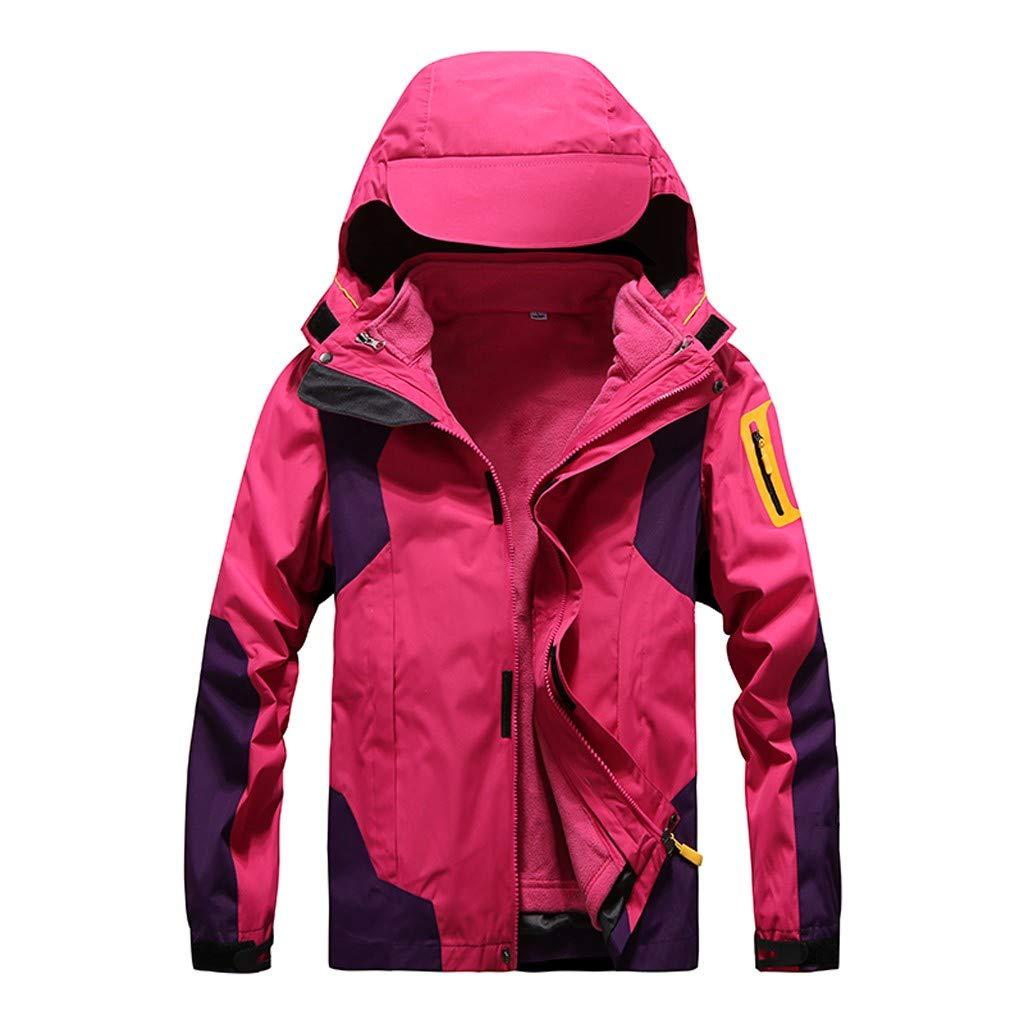 IEason Women Winter Coat Outdoor Waterproof Softshell Rain Jacket Detachable Breathable Sport Outdoor Coat Hot Pink by IEason Women Coat