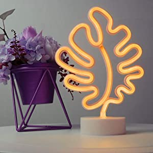 Leaf Neon Signs Room Decor Battery or USB Powered Art LED Decorative Lights with Base Night Lights Indoor for Home, Bedroom, Office,Dorm,Party (Yellow)